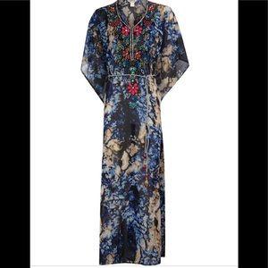 Lucky & Coco Blue Full Length Beaded Kaftan Dress